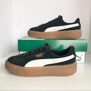PUMA Suede Platform Black White & Gum Sneakers 5.5